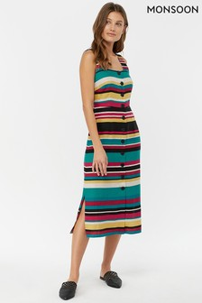 Monsoon Ladies Blue Celia Stripe Dress