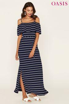 Oasis Blue Stripe Ruffle Bardot Maxi Dress