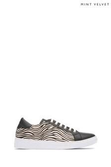 Mint Velvet Black Allie Zebra Print Trainers