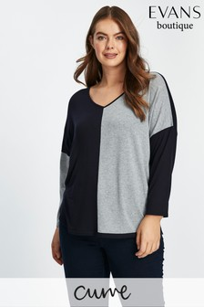 Evans Grey Colour Block Top
