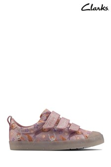 Clarks Pink Canvas Foxing Print K Canvas Shoes