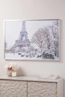 Winter Paris Scene Canvas