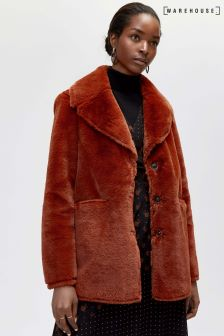 Warehouse Orange Femme Faux Fur Coat