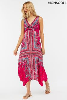 Monsoon Pink Patsy Print Midi Dress