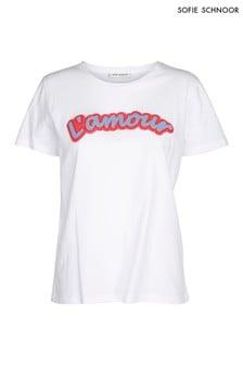 Biała koszulka z napisem Sofie Schnoor L'Amour