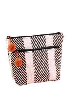 Monochrome Raffia Cosmetic Bag