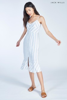 Jack Wills Blue Fernheath Button Stripe Midi Dress