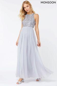 Monsoon Silver Scarlett Embellished Maxi Dress
