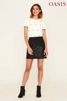 Oasis Black Leather Look Mini Skirt