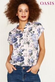 Oasis Blue Provence Floral Stripe Shirt
