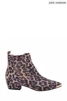 Sofie Schnoor Leopard Suede Ankle Boots