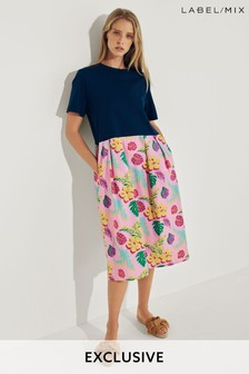Mix/J.Won Tropical Print Jersey Dress