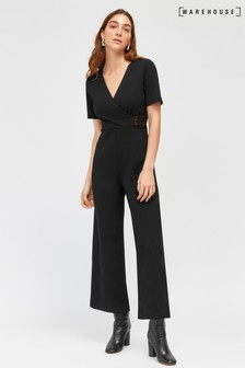 5cb66ebfe71e Warehouse Black Wrap Front Jumpsuit