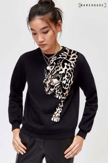 Warehouse Black Leopard Motif Sweatshirt