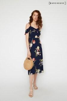 Warehouse Blue Iris Floral Midi Dress