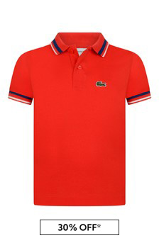 Boys Cotton Red Short Sleeve Trims Polo Top