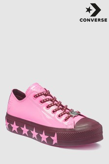 Converse Miley Cyrus Pink Chuck All Star Lift Patent Trainer