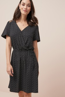 Lace Detail Jersey Wrap Dress