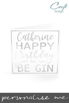 Personalised Fun Gin Birthday Single Card by Croft Designs