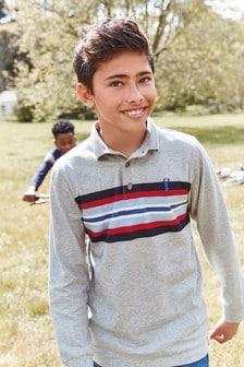 חולצת פולו עם שרוולים ארוכים בפסים (גילאי 3 עד 16)