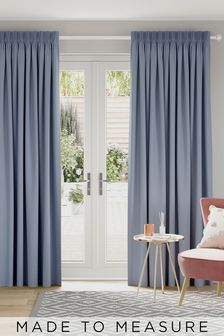 Blue Cotton Made To Measure Curtains