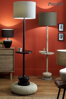 Hemi Wood Floor Lamp With Table by Pacific Lighting