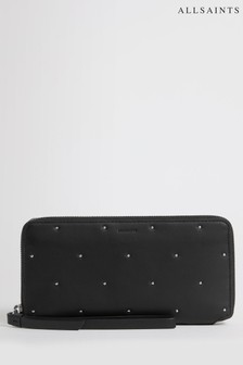 All Saints Black Kathi Leather Wristlet Wallet