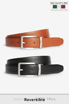 Signature Italian Leather Grain Effect Belt