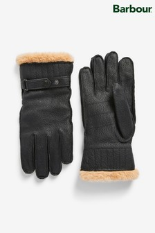 Barbour® Leather Black Utility Gloves