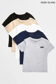 River Island Grey T-Shirts Five Pack