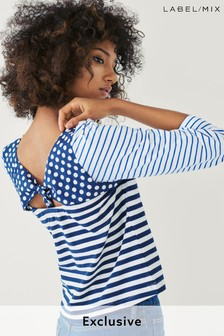Mix/J.Won Spot Stripe Tie Back T-Shirt