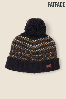 FatFace Blue Pattern Knit Beanie