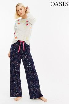 Oasis Blue Moon Star Print Trouser