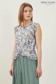 Great Plains White Juno Sea Flower Neck Top