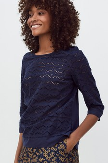 Broderie Three Quarter Sleeve Top