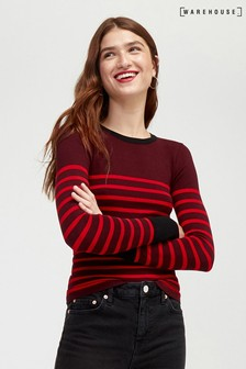 Pull Warehouse rouge à rayures style marinière