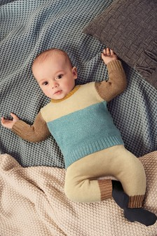 Colourblock Knitted Jumper And Leggings Set (0mths-2yrs)