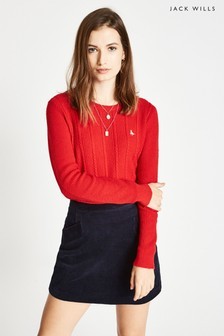 Jack Wills Bright Red Tinsbury Cable Crew