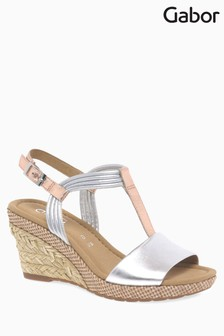 Gabor Silver/Gold Leather Sandal
