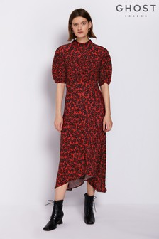 Ghost London Red Printed Jenna Dress