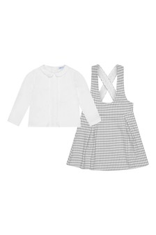 Girls White Blouse & Grey Houndstooth Dress Set
