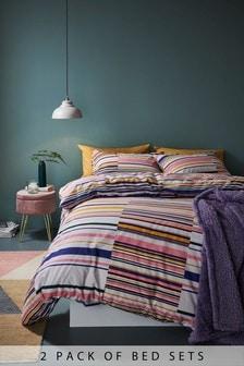 2 Pack Mono Stripe Duvet Cover and Pillowcase Set