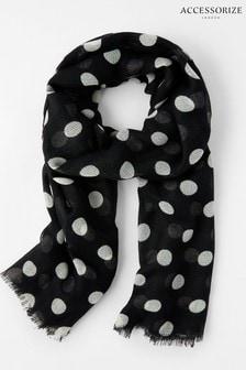 Accessorize Black/White Monochrome Polka Dot Scarf