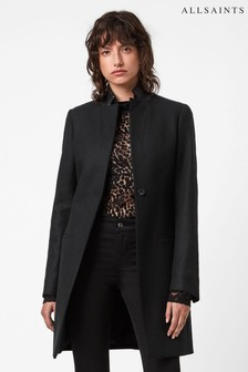 AllSaints Black Leni Coat With Leather Trim Collar