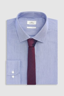 Regular Fit Single Cuff Stripe Shirt With Tie Set