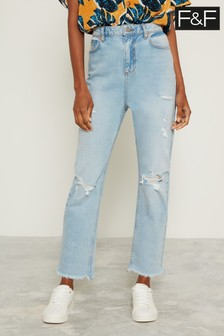 F&F Blue Light Wash Ripped Girlfriend Jean