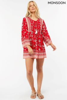 Monsoon Red Priscilla Print Dress