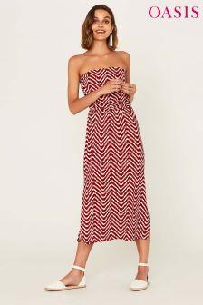 Oasis Red Amboselli Spot Wave Bandeau Dress