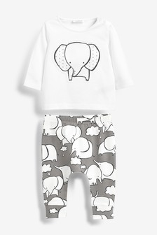 Two Piece Elephant T-Shirt And Leggings Set (0mths-2yrs)