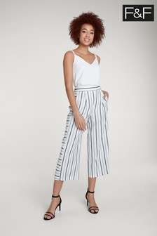 F&F Multi White Stripe Crop Wide Leg  Trouser